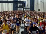 Runners Crossing the Verranzano Bridge at the Start of the 1987 NYC Marathon Photographic Print