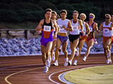 Male Runners Competing in a Track Race Photographic Print