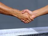 Tennis Players Handshake over the Net Photographic Print