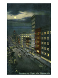 Los Angeles, California - Broadway View at Night Poster by  Lantern Press