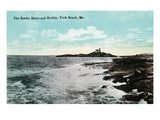 York Beach, Maine - Nubble Lighthouse, Rocky Shore Scene Posters by Lantern Press 
