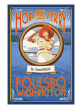 Poulsbo, Washington - Hop the Ferry Poster by  Lantern Press