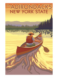 The Adirondacks, New York State - Canoe Scene Posters av  Lantern Press