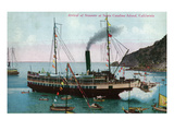 Santa Catalina Island, California - Steamer Ship Arriving at Island Prints by  Lantern Press