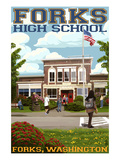 Fork High School, Washington Prints by Lantern Press