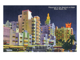 Miami Beach, Florida - City Scene at Night Art by  Lantern Press