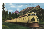 Union Pacific Streamliner Passing Mountains Print by Lantern Press 