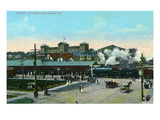 Old Orchard, Maine - View of the Railroad Depot Poster by  Lantern Press
