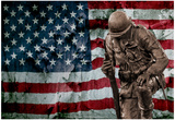Solider Statue and American Flag by Identical Exposure Affiches
