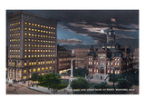 Winnipeg, Manitoba - City Hall, Union Bank Exterior at Night Poster by  Lantern Press