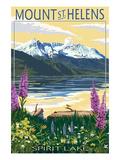 Mount St. Helens, Washington - Spirit Lake Poster von  Lantern Press