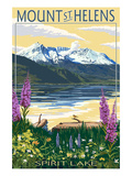 Mount St. Helens, Washington - Spirit Lake Poster by Lantern Press 