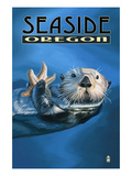 Seaside, Oregon - Sea Otter Art by  Lantern Press