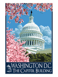 Capitol Building and Cherry Blossoms - Washington DC Print by  Lantern Press
