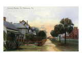 St. Petersburg, Florida - View Down Second Avenue Print by  Lantern Press