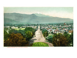 Colorado Springs, Colorado - Panoramic View of Town with Pikes Peak Prints by  Lantern Press