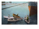 Santa Catalina Island, California - Coin Divers by a Steamer in Avalon Bay Prints by  Lantern Press