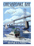 Chesapeake Bay Bridge - Maryland Prints by Lantern Press 