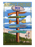 Martha's Vineyard, Massachusetts - Destination Sign Prints by  Lantern Press