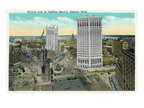Detroit, Michigan - Monroe Avenue and Cadillac Square Aerial View Prints by Lantern Press
