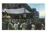 Venice, California - Crowds Gathered by Scenic Railway Outside of Bath House Posters by  Lantern Press