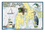 Kent Island, Maryland - Nautical Chart Affiche par Lantern Press
