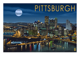 Pittsburgh, Pennsylvania - Skyline at Night Posters by  Lantern Press