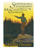 Copperhill, TN and McCaysville, GA - Fisherman Scene Prints by Lantern Press