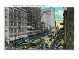 Detroit, Michigan - Woodward Avenue South Scene Poster by  Lantern Press