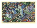 Los Angeles, California - Aerial View of the Civic Center and Buildings Art by  Lantern Press