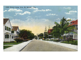 Miami, Florida - Avenue B View of 14th Street Poster by  Lantern Press