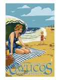 Cayucos, California - Woman on Beach Print by Lantern Press