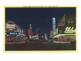 Las Vegas, Nevada - Fremont Street Scene at Night Print by  Lantern Press