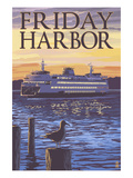 Friday Harbor, Washington - Ferry Sunset and Gull Print by Lantern Press 