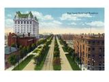Winnipeg, Manitoba - Fort Garry Hotel Exterior, Broadway Scene Prints by  Lantern Press