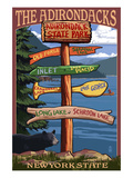 The Adirondacks, New York State - Sign Destinations Posters by  Lantern Press