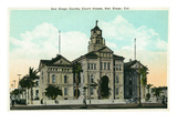 San Diego, California - Exterior View of the County Court House Poster by Lantern Press