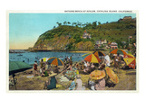 Santa Catalina Island, California - Crowded Beach Scene Premium Giclee Print by  Lantern Press