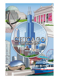 Chicago, Illinois - The Windy City Scenes Prints by  Lantern Press