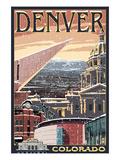 Denver, Colorado - Skyline View in Snow Posters by  Lantern Press