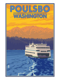 Poulsbo, Washington - Ferry and Sunset Prints by  Lantern Press
