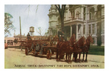 Davenport, Iowa - Fire Dept Aerial Rescue Truck Prints by  Lantern Press
