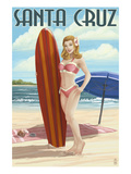 Surfer Pinup Girl - Santa Cruz, California Art by  Lantern Press