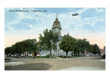 Valparaiso, Indiana - Airplane over Court House Square Building Posters by  Lantern Press