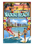 Waikiki Beach, Oahu, Hawaii - Scenes Posters by Lantern Press