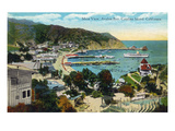 Santa Catalina Island, California - Panoramic View of Avalon and Bay Poster von  Lantern Press