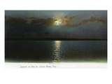 Florida - Sunset Scene on the St. John's River Art by  Lantern Press
