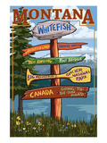 Whitefish, Montana - Sign Destinations Art by  Lantern Press