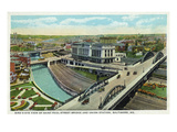 Baltimore, Maryland - Aerial View of St Paul Street Bridge and Union Station Prints by  Lantern Press