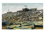 Pikes Peak, Colorado - Panoramic View of Cog Rail Train Ascending Prints by  Lantern Press